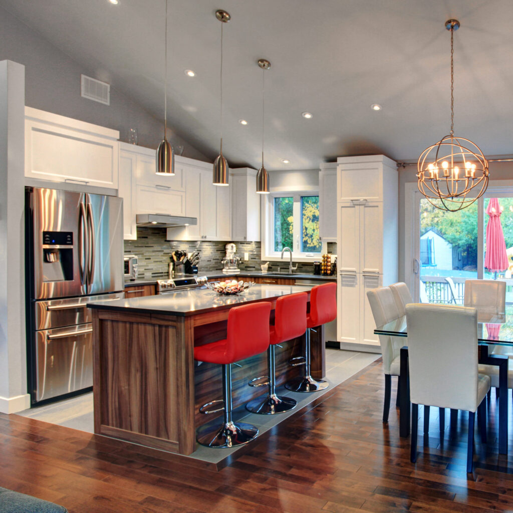 Vibrant kitchen and dining room